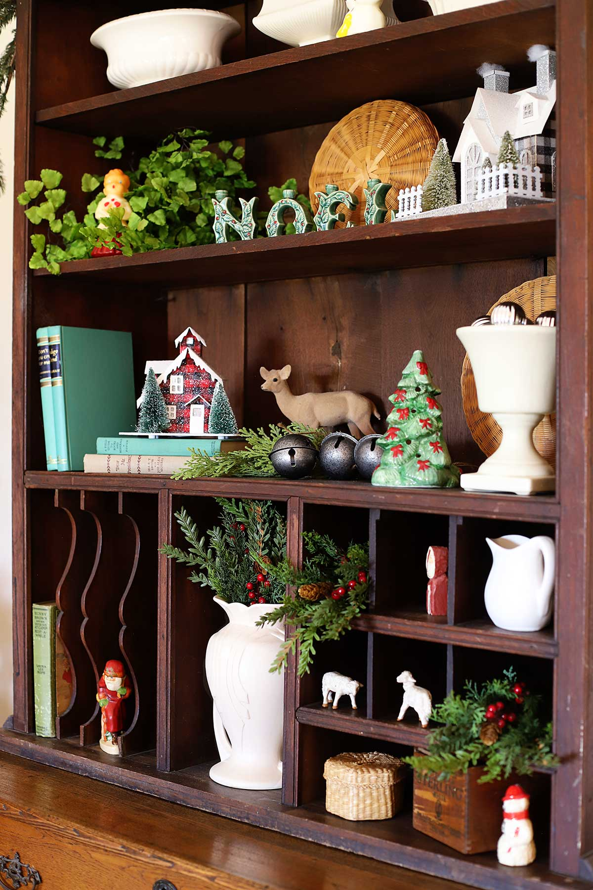 decorating the hutch with vintage Christmas decor