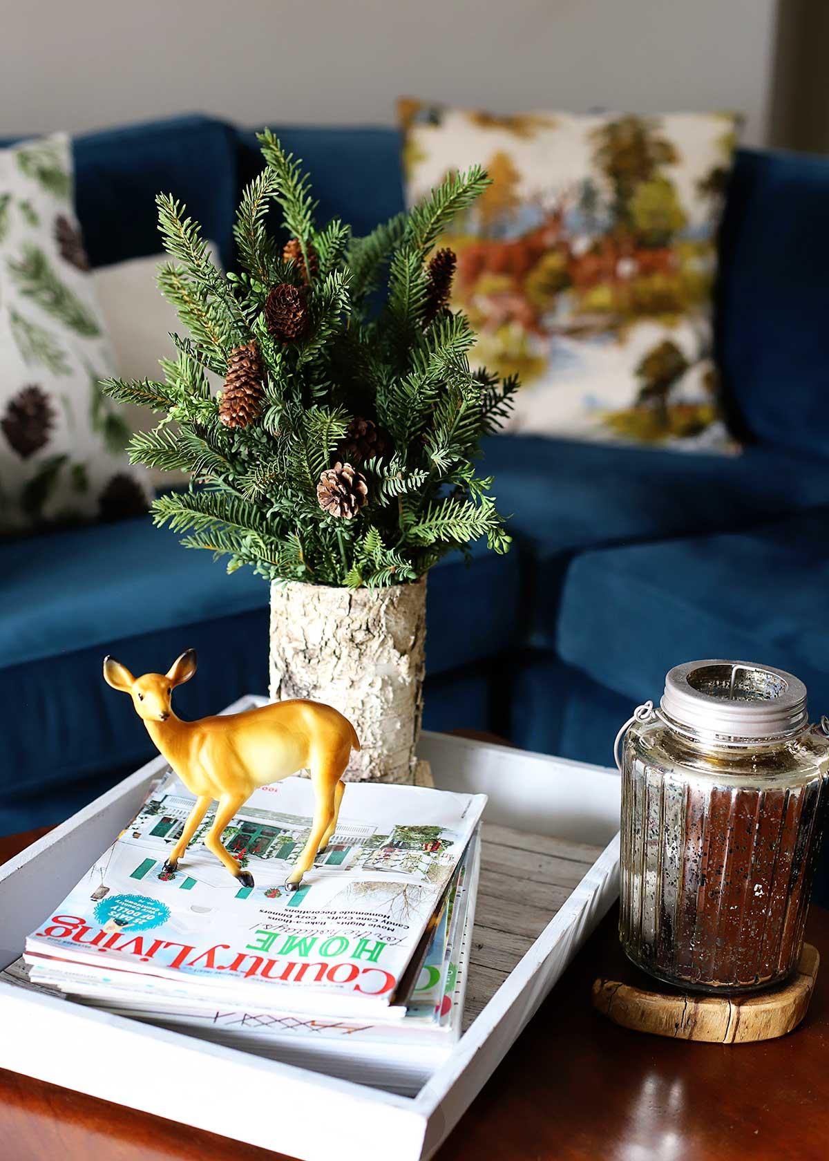 vintage plastic deer used as holiday decor