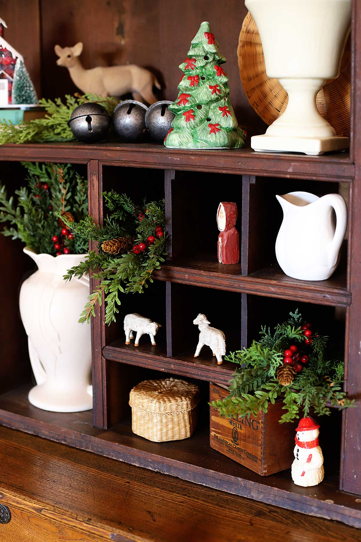 decorating the hutch for Christmas