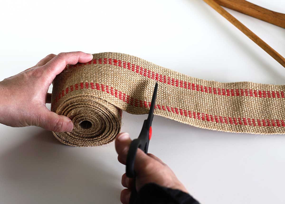 cutting upholstery webbing with scissors