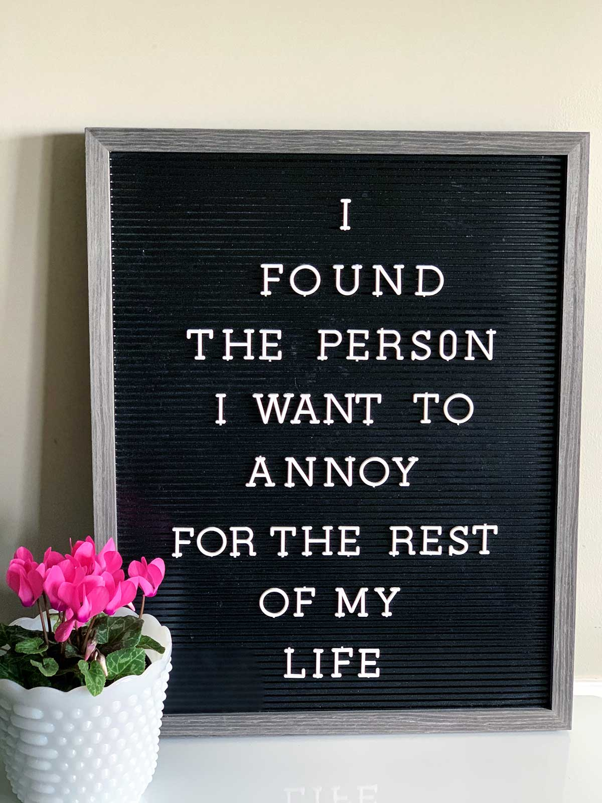 Letter board with the saying - I found the person I want to annoy for the rest of my life.