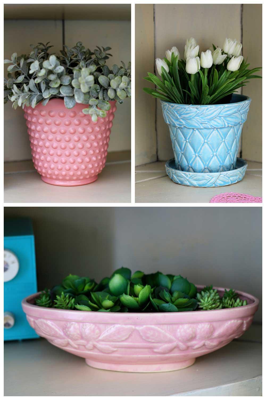 vintage pink hobnail Fire-King planter, blue diamond leaf quilted McCoy planter and pink McCoy berries planter