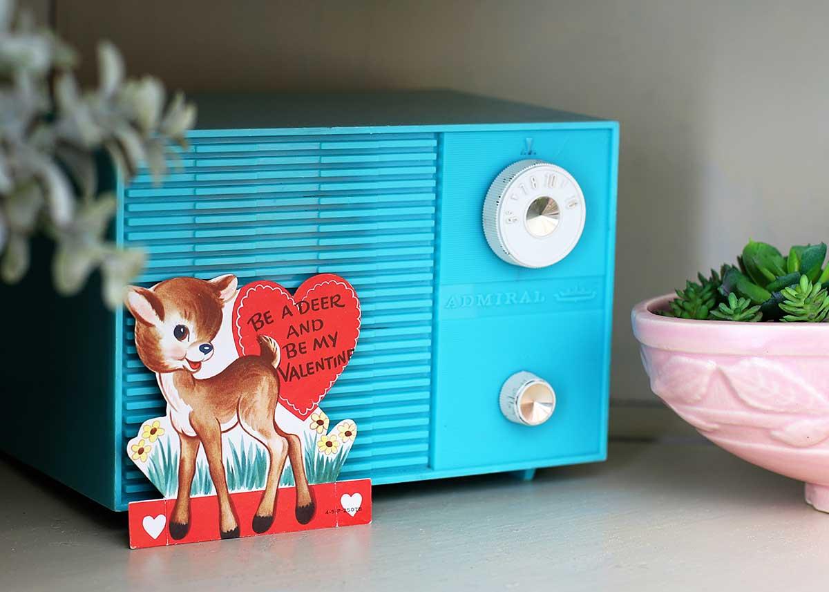 vintage turquoise Admiral radio