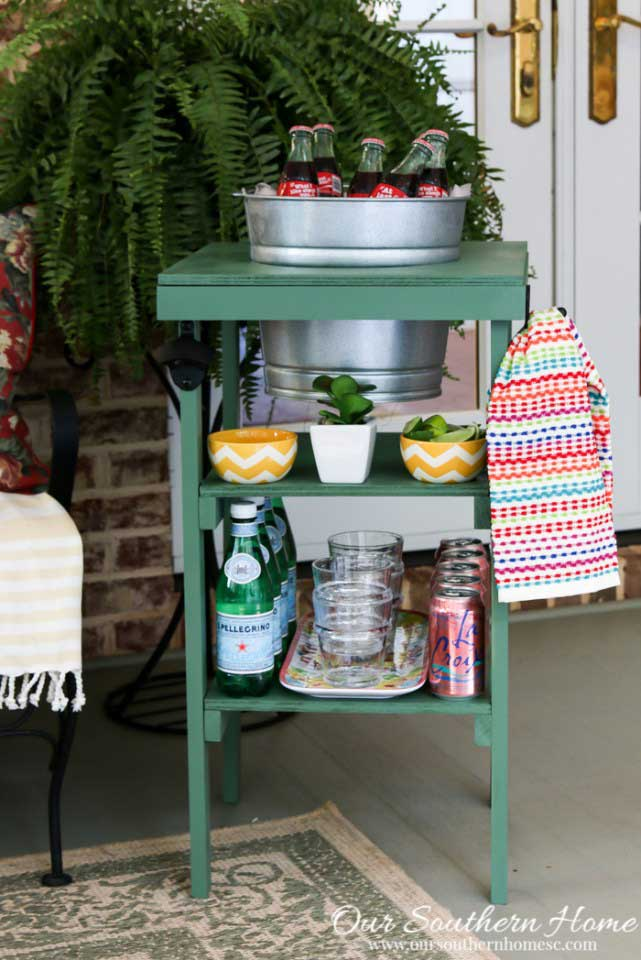 beverage station made from scrap wood is a thrifty DIY garden project for the patio