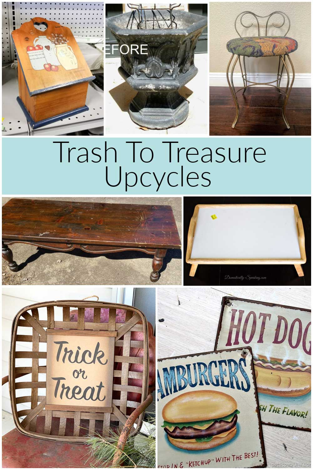 photo showing before images of trash to treasure upcycles