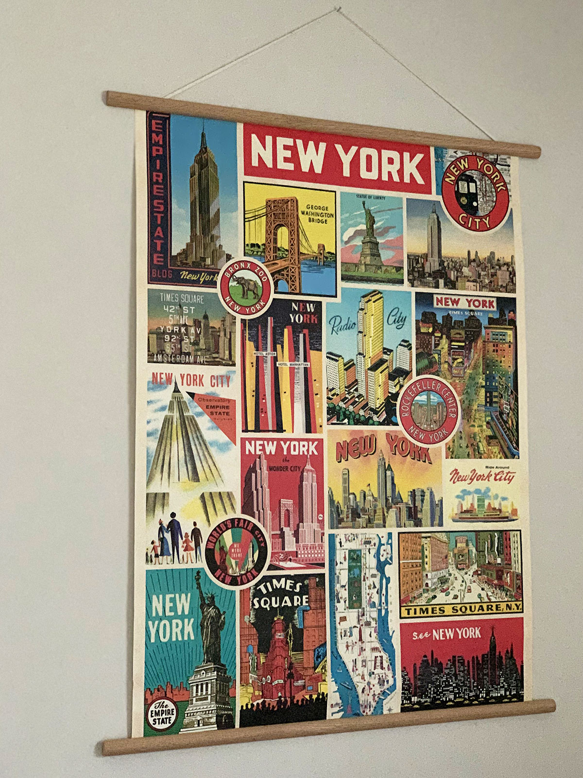 Vintage inspired New York themed poster by Cavallini & Co.