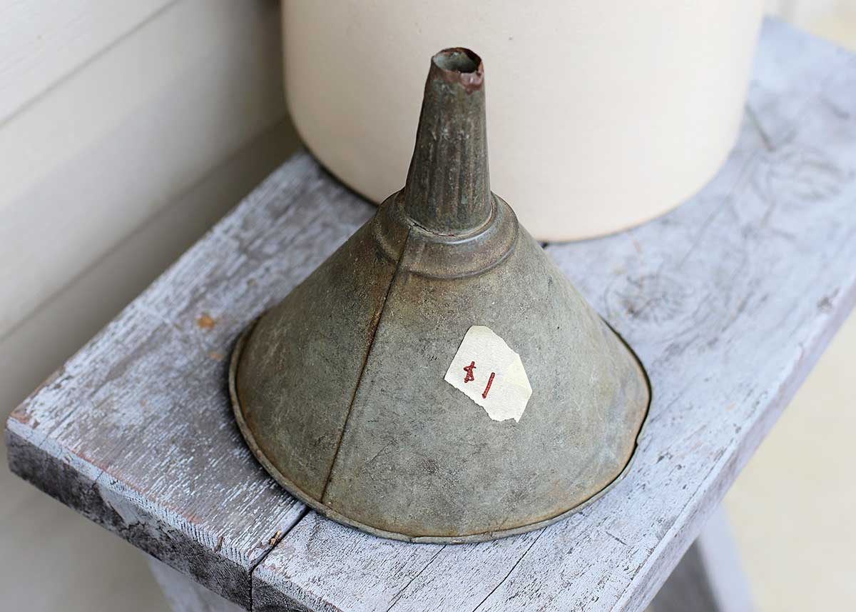old galvanized funnel found at barn sale for a dollar
