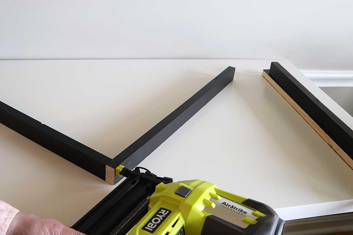using brad gun to nail wood poster frame together