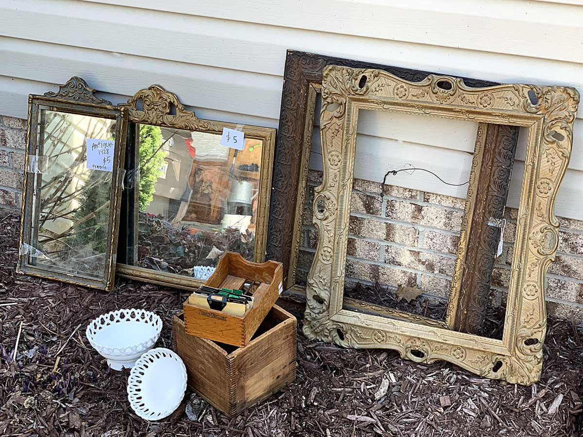 vintage mirrors, frames, glassware and more