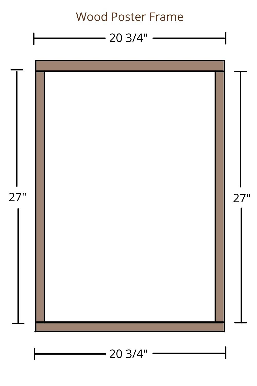 sketch drawing of wooden poster frame