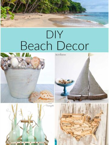 DIY beach decor ideas including sailboat, shell covered flower pot, driftwood map and more.