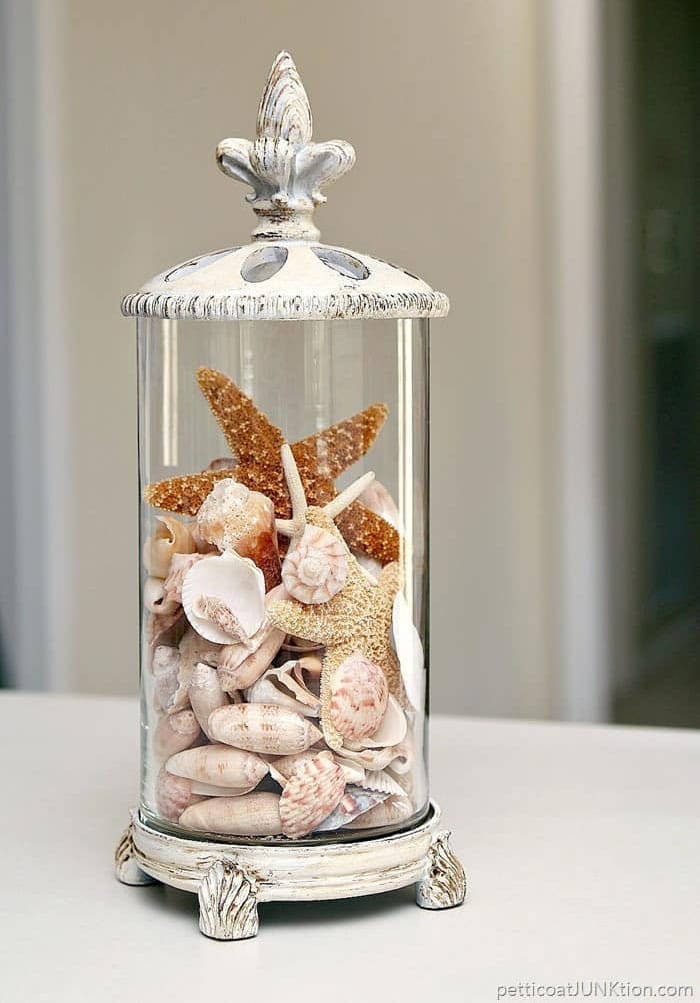 Seashells in a glass container.