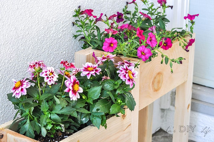 Three DIY planter boxes on a porch with bright colored flowers growing inside.