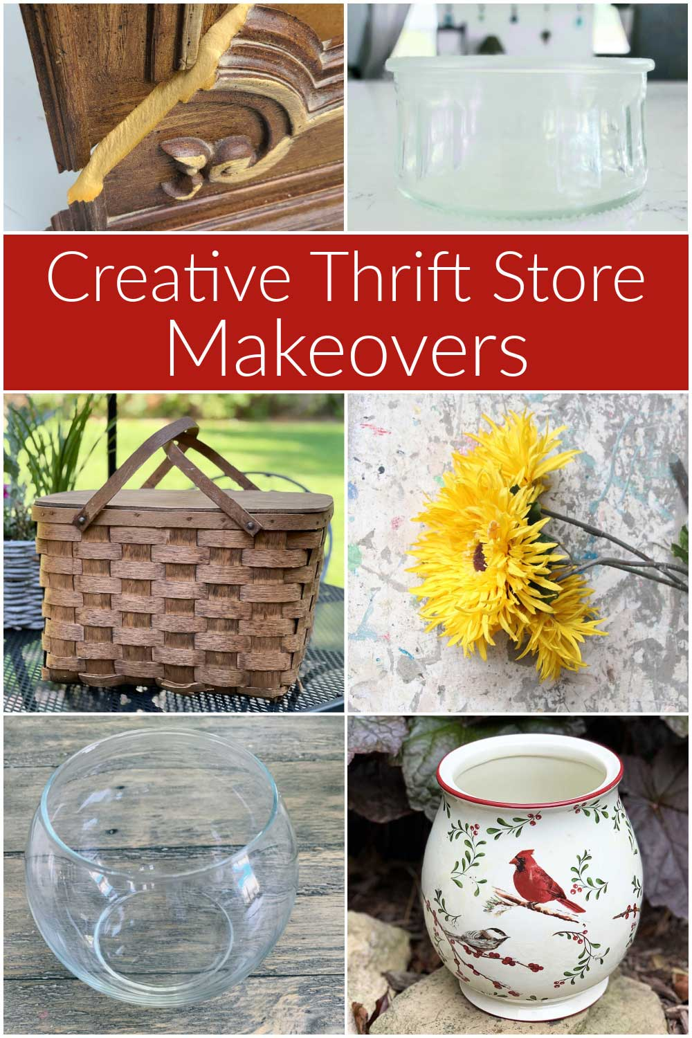 Upcycling projects made with items commonly found at thrift stores or in your closet and cupboards.