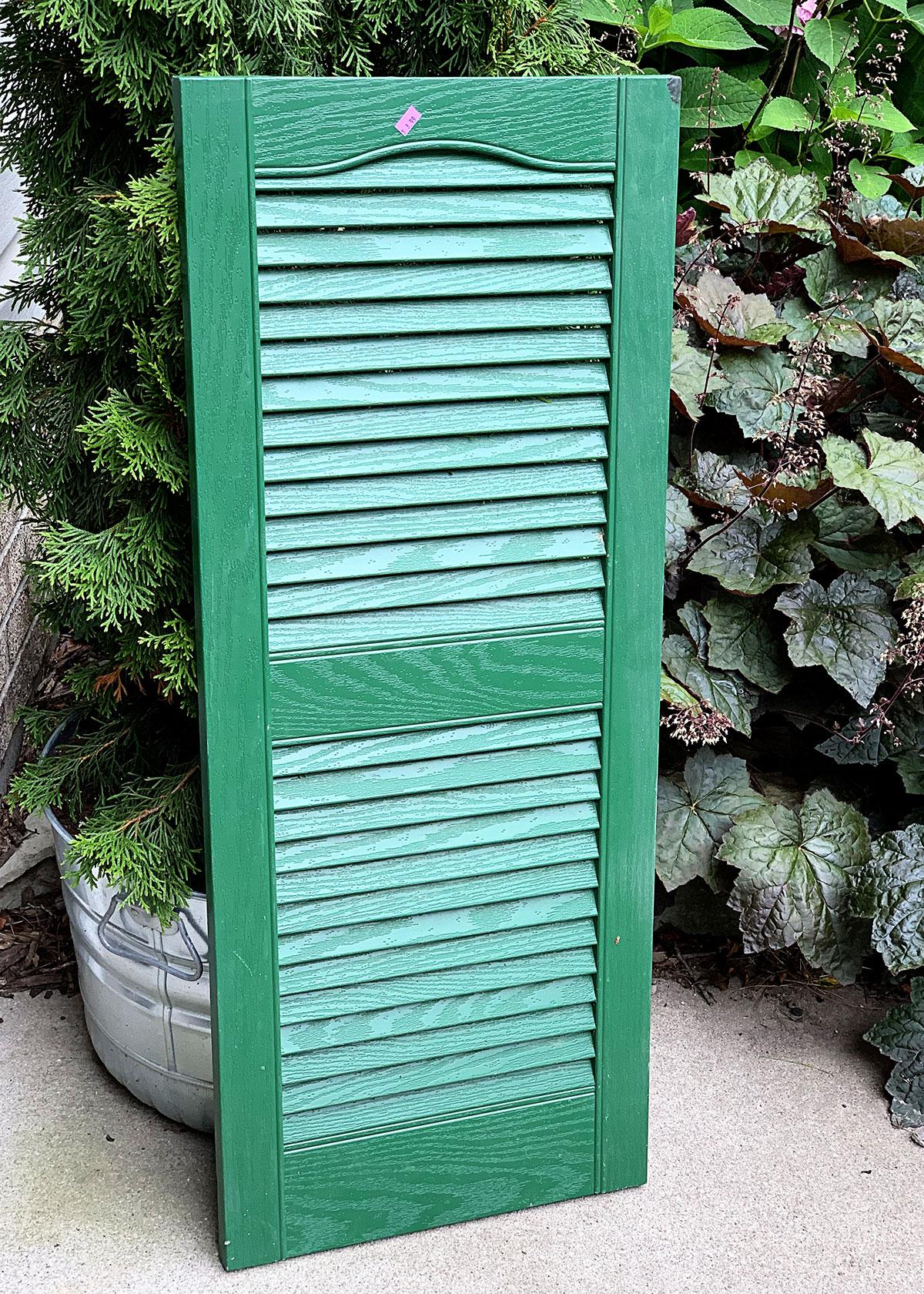 Green vinyl house shutter.