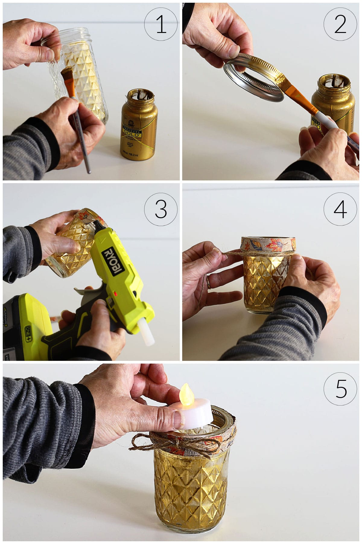 Instructions on how to paint a Ball quilted mason jar to make a candle holder.